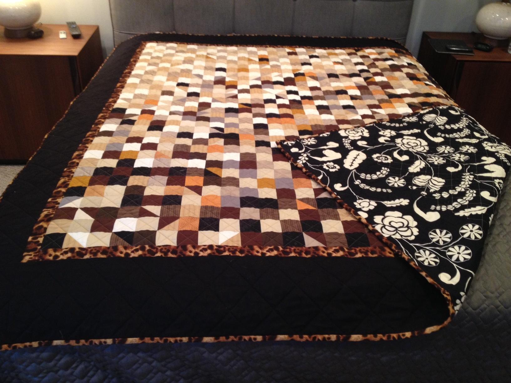 Fading leopard squares quilt